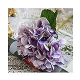 WXL Flores artificiales de hortensias de seda baratas para novia, ramo de boda, hogar, Año Nuevo, accesorios de decoración para florero, flores artificiales (color: púrpura)