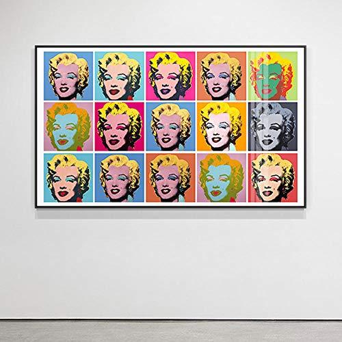 VGSD® Impresión del Cartel Famoso Andy Warhol Pared Arte Imagen Marilyn Monroe Colorida Pintura De La Lona, para La Decoración del Hogar 50 * 70 Cm