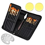 Paint Brush Set of 19, HUIMS Acrylic Brush Set with Canvas Carrying Case, 15 Different Shapes, 1 Palette Knife, 2 Sponge and 1 Palette - Nylon Hair and Ergonomic Matte Black Handle