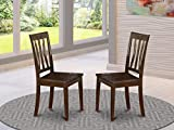 East West Furniture Antique Dining Chairs - Wooden Seat and Cappuccino Hardwood Frame Modern Dining Room Chair Set of 2