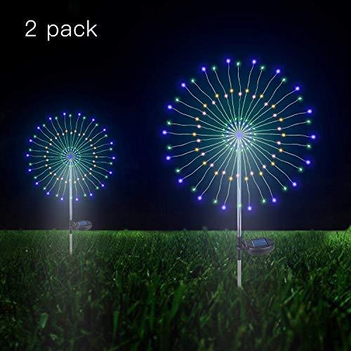 Solarleuchten Garten Deko, 105 LED Solar Feuerwerk Licht Bunt, DIY Kupferdraht Solar Gartenstecker Licht Wetterfest Dekorative für Außen Garten Rasen Balkon(Bunt, 2 Pack)…