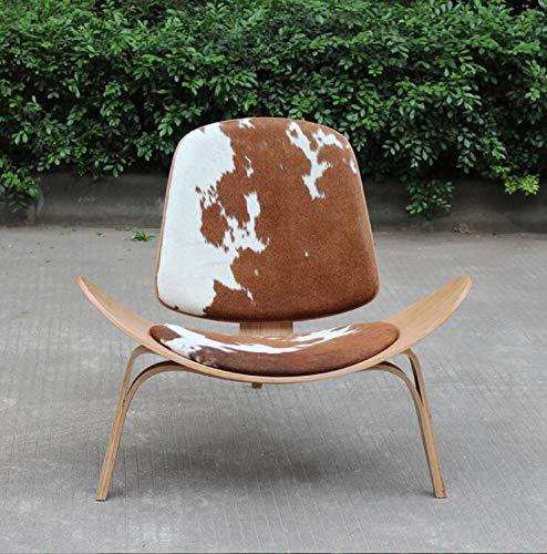 DWWSP Haus Dekoration Hans Wegner Dreibeinige Lounge Shell Chair Asche/Walnuss Sperrholz Rindsleder Polsterung Sitz Wohnzimmerstuhl Freizeit Chaisellounge (Color : Ash Brown White)