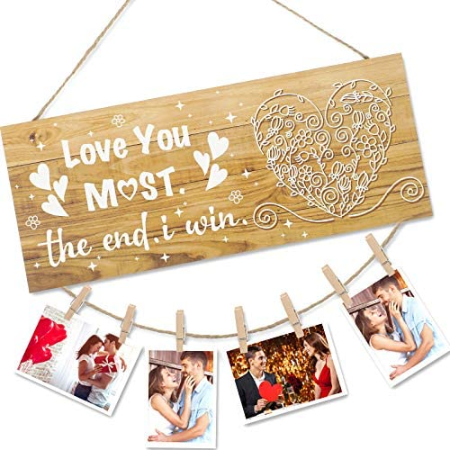 Love You Most The End I Win Wall Hanger Sign Valentine s Day Wooden Hanging Photo Display Photo product image