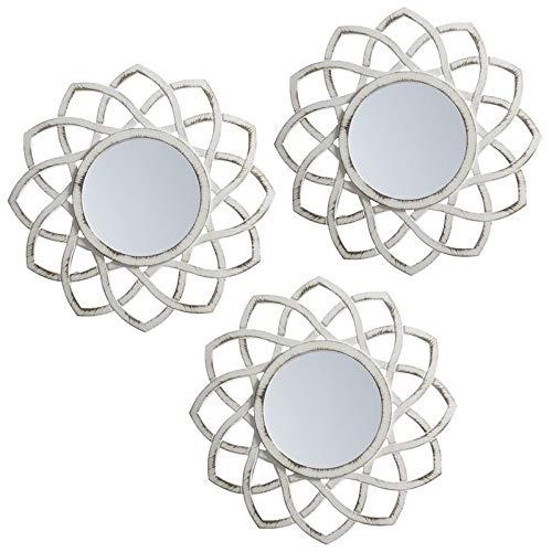 Espejo pared set 3 blanco crema pp 25x25 cm