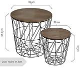 CALUTEA Moderne Beistelltische Rund / 2er Set/Drahtkorb/Metall Schwarz/Holz Design Braun