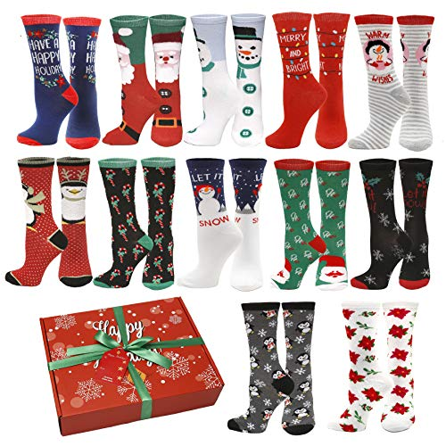 12 Pair,Holiday X-Mas Socks, 12 Different Designs,Christmas Size 9-11 (12 Pair Style 1)