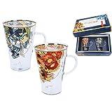 Carmani, set di 2 tazze da caffè in vetro verniciato, con pittura Vincent Van Gogh, 400 ml