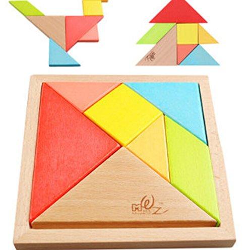 7 UNIDS Tangram Rompecabezas de Madera Puzzle Desarrollo Educativo Juguete de Los Niños