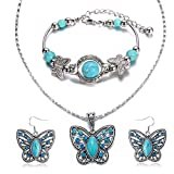 Cocazyw Silver Butterfly Turquoise Bracelet and Earrings for Women Girl Retro Charm Gemstone Jewelry Set Pendant Necklace and Drop Earrings for Women Girl