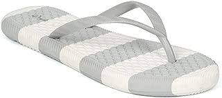 Qupid HH43 Women PVC Striped Thong Sandal HH43
