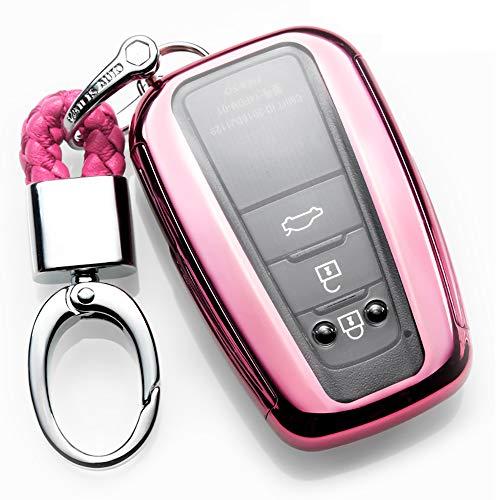 ontto autosleutelhoes voor camry, premium zachte siliconen 360 graden volledige bescherming sleutelhanger hoesje geschikt voor Toyota Camry 3 4 knop sleutelloze afstandsbediening Smart Key Skin jas metal buckle A roze