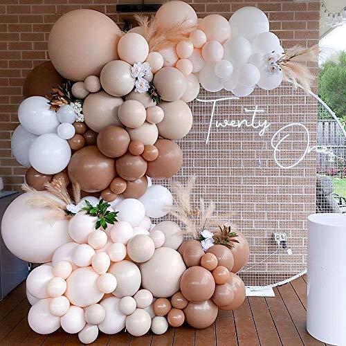 Brown Balloon Garland Kit Arch Light Jungle Cream...