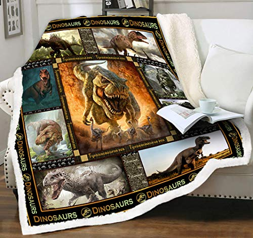 Tzomsze Micro Fleece Throw Blankets Plush Dinosaur Blanket Trex Tyrannosaurus Rex Dino Cuddly Blanket for Kids Boys Girls Teen Adult Bedroom Couch Car Decorative Mink Sherpa Wool Blanket 50 x 60 Brown
