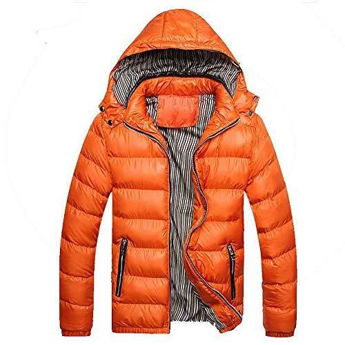 Riou Herren Steppjacke Winterjacke Männer Winter Wärme Beiläufige mit Kapuze Zip Abnehmbare Dicke Verdicken SAMT Daunenjacke Gepolsterten Baumwolle Mantel M-4XL (L, Orange)