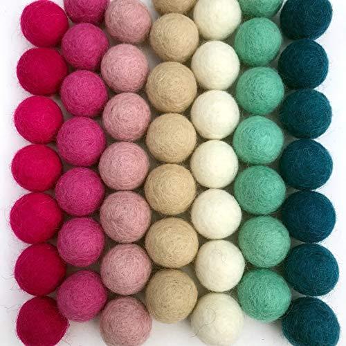 Cotton Candy - 100% Handmade Wool Felt Pom Poms - (50) Pure New Zealand Wool Felt Balls - DIY Pompoms for Craft, Garland, Decor - Assorted Pastel Colors - 0.8-1.0 Size - Drawstring Muslin Bag