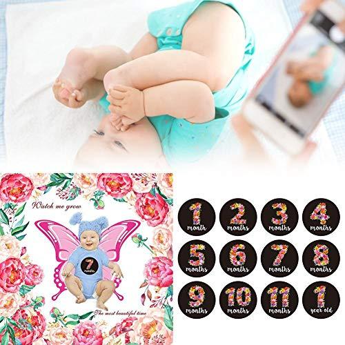 Eillybird kinderfotografie deken pasgeborenen baby kind mijlpaal foto herdenkingsfotografie deken met sticker foto prop voor 1 tot 12 maanden pasgeboren kind