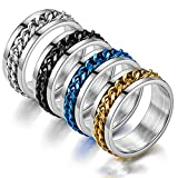Mens Spinner Ring, 3PS Figit Rings for Anxiety, Stainless Steel 8mm Chunky Ring, 18K Gold Plated Rotatable Cuban Link Chain, Pinky Ring, Thumb Ring (2Pack(Silver,Black), 7)