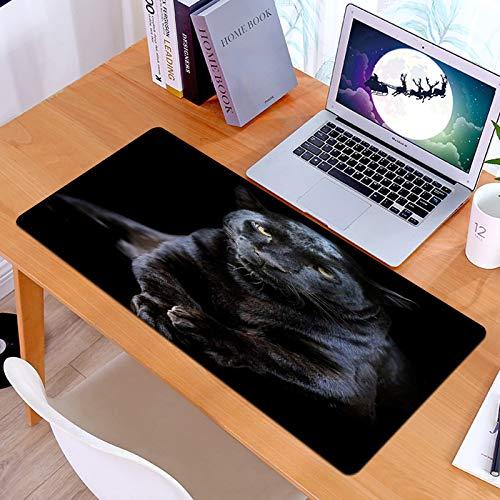 Alfombrilla Ratón Grande Gaming Mouse 3D Black Panther Safari Animal Closeup Leopard sobre Fondo Oscuro Big Cat WildlifeBase de Goma, Portátil, Ordenador