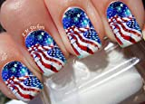 American Flag 4th July Independence Day Water Nail Art Transfers Stickers Decals - Set of 22