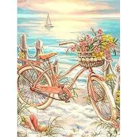 5Dフルダイヤモンドダイヤモンド塗装キット 花自転車 フルダイヤモンドクリスタルラインストーン刺繍家の壁の装飾アートクラフト壁アート-(16x20inch)フレームレス