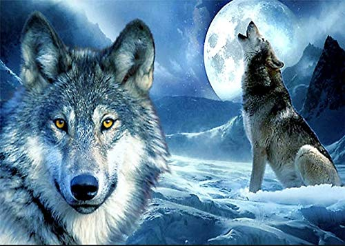 5D DIY Diamond Painting Animals Winter Wolf Kit Full Drill Embroidery Mosaic Art Picture of Rhinestones Decoration Gift A6 50x70cm