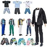 E-TING 5 Set Random Style Outfit + 5 Paar Schuhe für Boy Doll (Kleidung + schwarzer Anzug + Badebekleidung) (Keine Puppe)(5 Random Sets) -