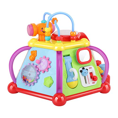 Zooawa Juguete Cubo de Actividades de Diseño 15 en 1 para Bebé, Centro de Juegos Juguete Actividad Educativa con Sonido Música para Aprendizaje y Desarrollo de Sentidos para Niños - Colorido