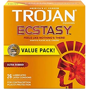 One 26 count box of TROJAN Ultra Ribbed ECSTASY Condoms Unique design that lets you feel the pleasure, not the condom! Feels like nothing's there! Deep ribbing at the base and end increases stimulations Premium quality latex that helps reduce the ris...