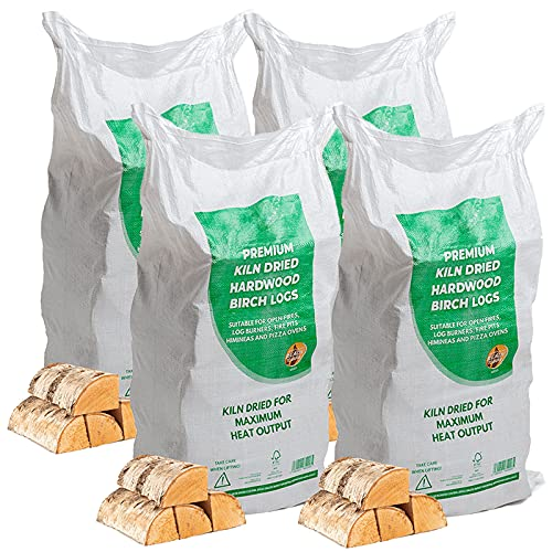 AMOS Kiln Dried Hardwood Birch Chunky Firewood Logs Approx. 4 x 20kg for Fireplaces, Stoves, Fire Pits, Pizza Ovens, Chimineas, BBQ, Wood Burner Under 20% Moisture Ready to Burn Sustainably Sourced