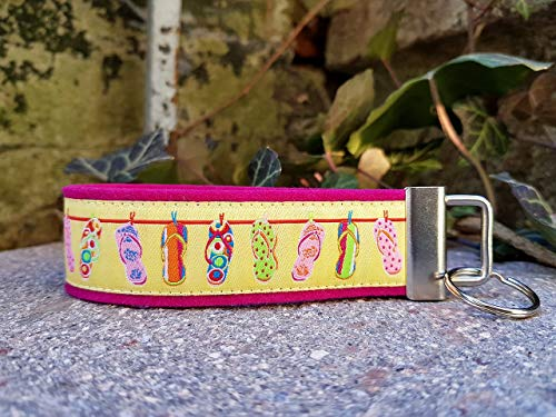 Schlüsselanhänger Schlüsselband Wollfilz pink Webband Sommerschuh gelb rosa grün Geschenk!