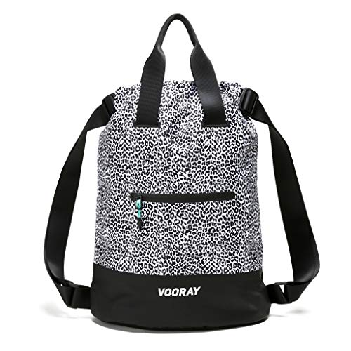 Vooray 23L Ultra-Durable Flex Cinch Gym Drawstring Backpack Sackpack for Women (Leopard)