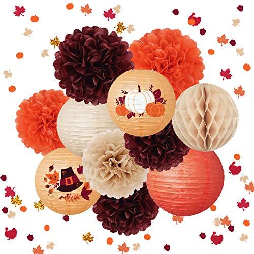 NICROLANDEE Decoraciones de Acción de Gracias Linternas de papel para colgar papel de seda pompones de hojas de arce confeti para Acción de Gracias, otoño, fiesta de cumpleaños