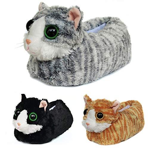 Pantufas de pelúcia para gatos de inverno felpudos para homens e mulheres, gato adorável com olhos grandes, Cinza, 7-9 M US