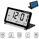 Pawaca Réveil de Voyage, Pliable Réveil Electronique Digital Alarme Horloge avec Grand Écran LCD,...