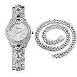 HALUKAKAH Montre en Or avec Diamants Iced Out,Homme Chaîne Cubaine Plaquée Or Blanc Platine Quartz 24cm,avec Chaîne Cubaine Collier 45cm,Coffret Cadeau Gratuit