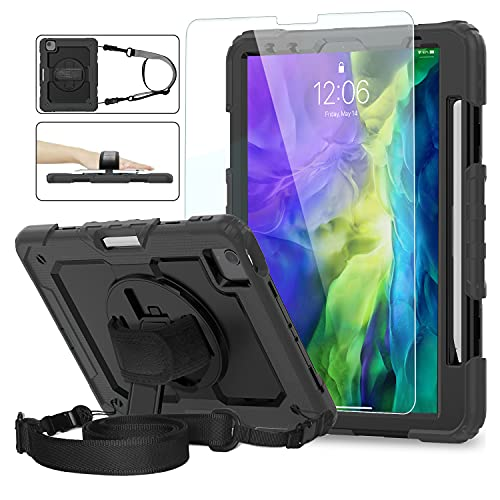 ambison iPad Pro 11 2020 Case with Glass Screen Protector [Support 2nd Gen Apple Pencil Charging] Bulit in Pencil Holder/Shoulder Strap/Hand Strap/Kickstand for iPad 11 Pro 2020/2018/Air 10.9