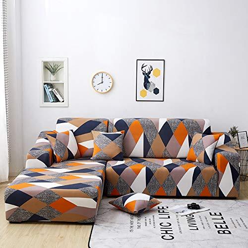 NIBESSER Funda de sofá con chaise longue elástica de 2 piezas, funda de sofá en forma de L, lavable, antimanchas, funda para sofá esquinero para salón (geométrica naranja, 2 plazas + 2 plazas)