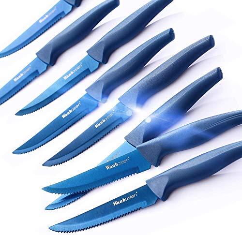 wanbasion 8 Piezas Azul Juego De Cuchillos para Carne, Set De Cuchillos De Cocina Profesional, Cuchillos De Carne Acero Inoxidable