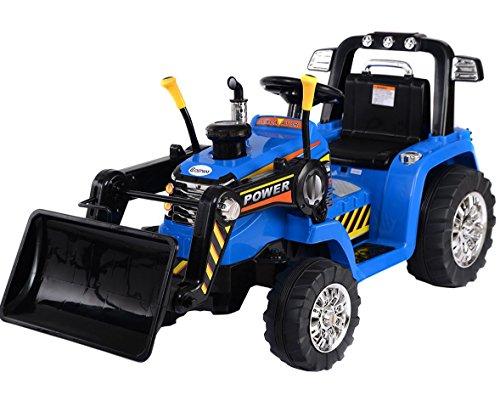 ENFANTS électrique 12V/batterie Ride On tracteur/pelleteuse Bleu