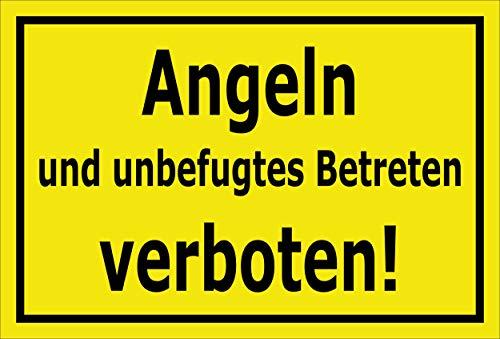 Melis Folienwerkstatt Schild Angeln Betreten verboten 30x20cm - Bohrlöcher - 3mm Aluverbund – 20 VAR S00110-004-C