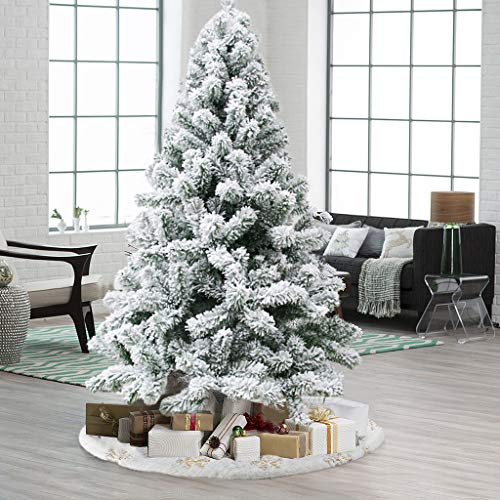 MORECON 7.5ft Snow Flocked Artificial Christmas Pine Tree, 638 Branches Tips Premium Xmas Tree Foldable Metal Stand Indoor Outdoor-White No Tools Requirement Best Holiday Decor