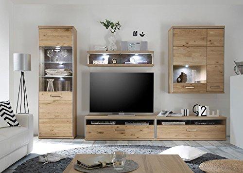 lifestyle4living Wohnwand, Wohnzimmerschrank, Anbauwand, Schrankwand, Fernsehwand, Wohnzimmerschrankwand, Wohnschrank, Eiche, massiv, Vitrine, Glas