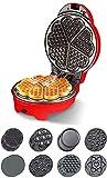 BBGSFDC Wafflera, Bandeja de Horno Completamente automática de Doble Cara Calefacción de suspensión con Control automático de Temperatura de diseño, a 5 Minutos Hornear Inteligente Wafflera, Rojo