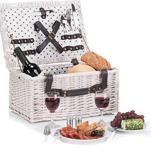 GOODS+GADGETS Weidenkorb Picknickkorb aus Weide mit Picknick Geschirr, Besteck, Gläsern, Korkenzieher (Picknickkorb - 2 Personen)