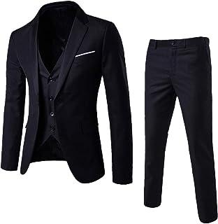 Big Daoroka Men's 3-Piece Slim Suit Jacket Coat Autumn Winter Business Wedding Party Jacket Vest & Pants Fashion Casual Outwear
