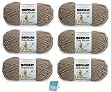 Bernat Baby Blanket Yarn - 6 Pack Bundle with Patterns (Sand Baby)
