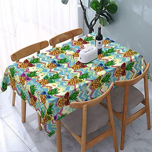 LINGF - Mantel Rectangular de piña con Gafas de Sol, 54 x 72, Impermeable, Lavable, Reutilizable, para Mesa, para Comedor, Cocina, Picnic, decoración del hogar