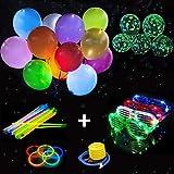 Paquete de Fiesta Brillante, 25 Globos de luz Led, 25 Globos de Neón, 100 Barras Luminosas, 4 Vasos LED, Parque de Decoración para Cumpleaños Pascua Navidad Boda