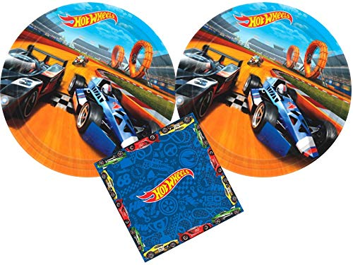 Hot Wheels Party Supplies Bundle with Luncheon Plates and Napkins for 16 Guests