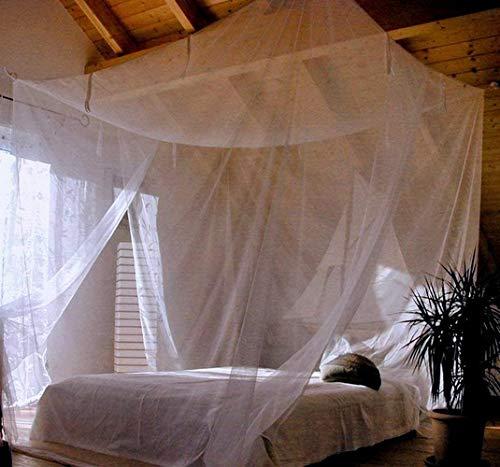 Sekey Moskitonetz für Einzelbett / Doppelbett, kastenform  Mesh Insektennetz mit Schnelle und Einfache Installation (L220xB200xH200cm-Doppelbett -doppelte Öffnungen)